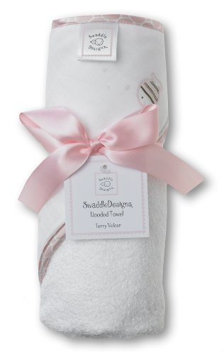SwaddleDesigns Terry Velour Hooded Towel, Striped Fish, Pink