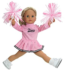 18 Inch Doll Clothes Fits American Girl Dolls - Doll Cheerleader Outfit Set Includes Pom Poms Doll Accessories & Pink Cheerleader Doll Dress