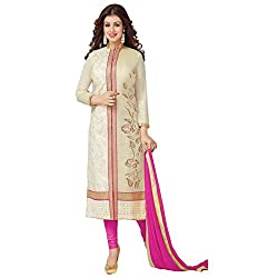 ZHot Fashion Women's Embroidered un-stitched Dress Material In Cotton Fabric (ZHASW1003) Beige and Pink