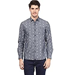 Atorse Mens White Flower and Dot Printed Grey Casual Shirt