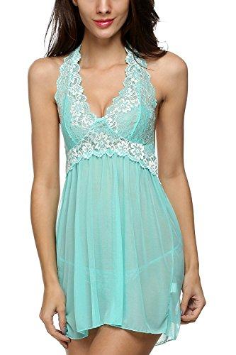 Avidlove Women Outfits Halter Lingerie Mini Nightwear Lace Babydoll Green M