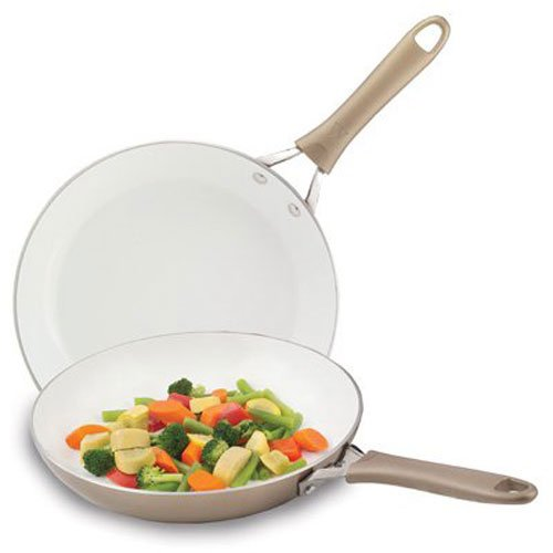 WearEver C944S2 Pure Living Nonstick Ceramic Coating Scratch Resistant PTFE PFOA and Cadmium Free Dishwasher Safe Oven Safe 10-Inch and 8-Inch Fry Pan Cookware Set, 2-Piece, Gold (Ceramic Nonstick Fry Pan compare prices)