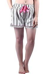 Vixenwrap White Striped Shorts(XL_White)