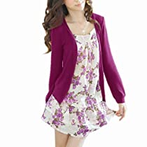 Allegra K Women Flower Print Front Long Sleeve Fake Two Piece Tunic Shirt