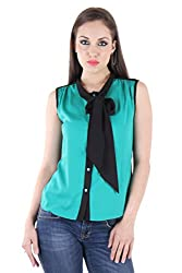 Bonheur Women's Bow Neck Green and Black Shirt (BH-024-Green and Black-L_Green_Large)