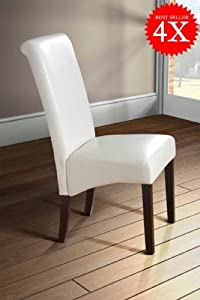 My Furniture Roll / Scroll Back Faux Leather Dining Room Chair   Dark Legs  IVORY x 4       Customer review and more information