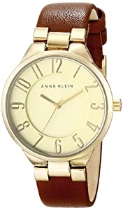 Anne Klein Women's AK/1618CHBN Gold-Tone Easy-to-Read Dial Brown Leather Strap Watch