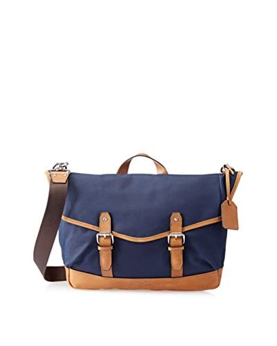 Cole Haan Men's Waxed Canvas Messenger Bag, Navy