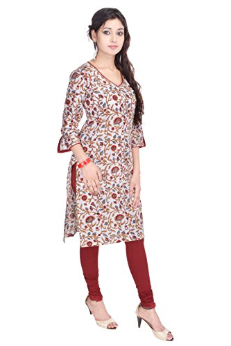 Geroo Cotton Hand Block Printed Kurta With Seq. Work On Neck And Sleeves