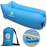 Go Beyond Outdoors Inflatable Lounger - Hangout Sofa With Carry Bag - Easy To Inflate with Wind - Use as Portable Air Hammock, Lazy Lounge Chair, or Blow Up Couch for Camping, Travel, Beach and Pool (Color: Blue)