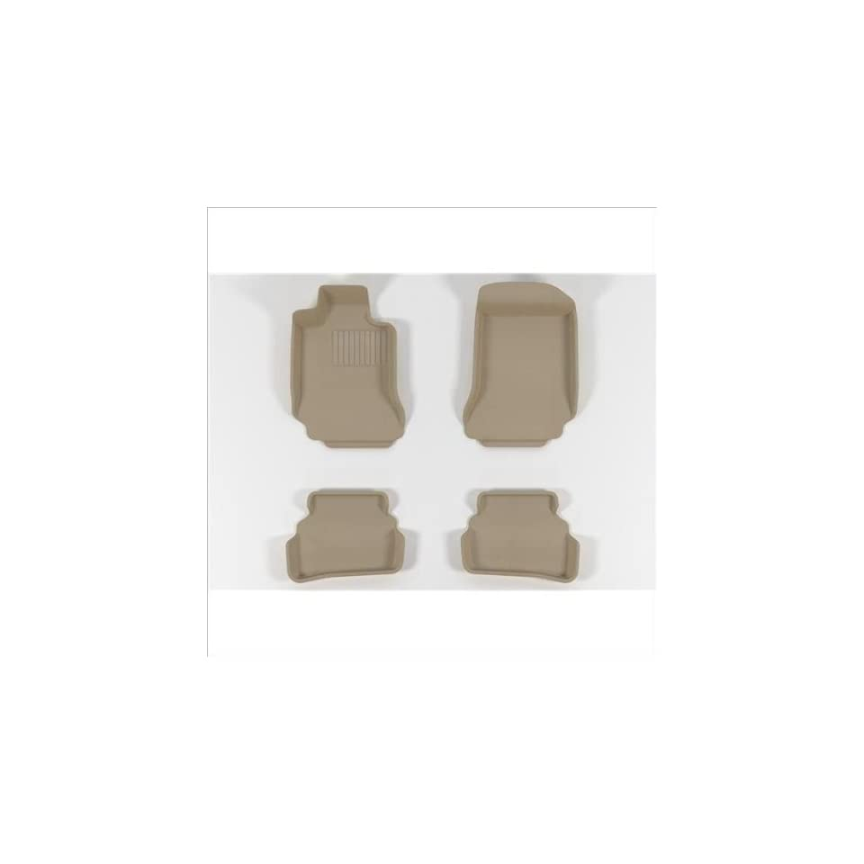 L1TY05611502 Tan 3D MAXpider Front Row Custom Fit All-Weather Floor Mat for Select Toyota Sienna Models Kagu Rubber