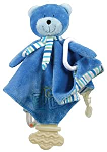 Stephan Baby Ultra Soft Plush Chewbie Activity Toy and Teething Blankie, Bobbi the Bear, Royal Blue (Discontinued by Manufacturer)