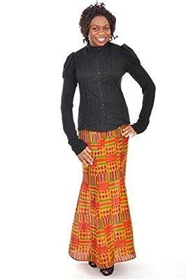 Dupsie's Vibrant Kente Afican Print Full Flare Skirt
