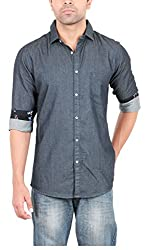 EASIES Men's Casual Shirt (81423 ALFALFA E702UASFFSSC BKINDG_XL, Black, X-Large)