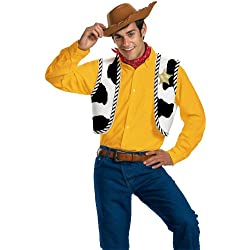 Disguise Men's Disney Pixar Toy Story and Beyond Woody Adult Costume Kit, Yellow/Black/White/Brown, One Size