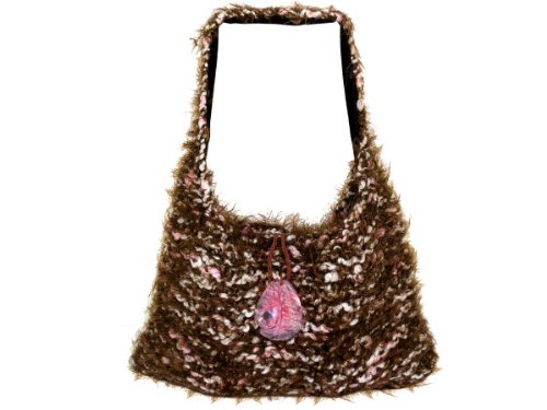 Wholesale Set Of 1 Hand Knit Brown/Pink Over-The-Shoulder Bag (Fashion Accessories, Handbags), $29.67/Set Delivered