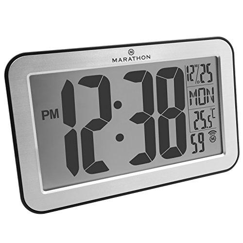 MARATHON CL030033SV Atomic Self-setting Self-adjusting Wall Clock w/ Stand & 8 Timezones - Brushed Silver - Batteries Included (Outdoor Digital Clock compare prices)