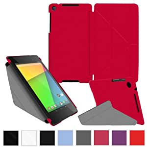 rooCASE Google Nexus 7 2013 FHD Case - (2nd Gen 2013 Model) Origami Slim Shell Cover - RED (With Auto Wake / Sleep Cover)