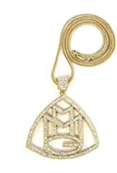 """ICED OUT GOLD RICK ROSS MMG PENDANT & 36"""" FRANCO NECKLACE CHAIN"""