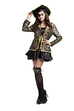 Mebarra Women's 5 Pieces Sexy Adult Caribbean Pirate Costumes Halloween Cosplay