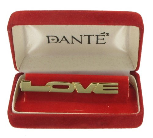 Dante Gold Plated Metal Tie Clip Mens Vintage 1970s Love