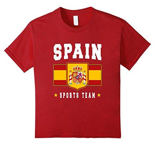 Kids SPAIN T-shirt Espana Emblem-a Spanish Flag Soccer Spaniard 8 Cranberry
