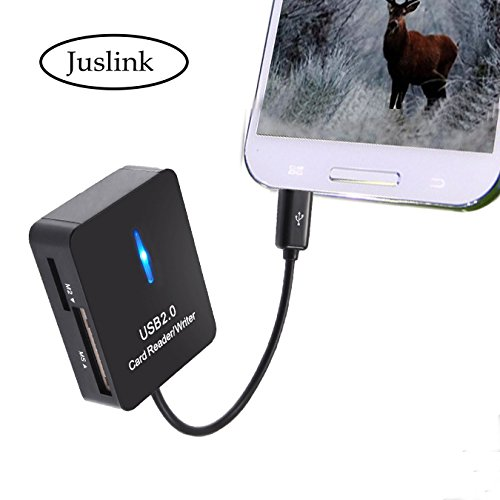 Trail and Game Camera Viewer, Juslink ® OTG Hub & SD Card Reader, Micro USB OTG Card Reader, Micro USB Connector, 5 in 1 OTG Adapter Cable for Android Phones and Tablet PC