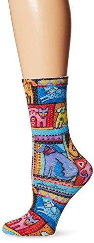 laurel-burch-womens-single-pack-novelty-animal-crew-socks-colorful-dogs-9-11