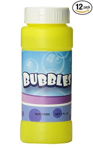 12 Pack 2 Fl Oz Bubble Bottles Replacement Refills compatible with Haktoys 1700G Bubble Gun, 1800F Fish Bubble Gun, and 1900D Dinosaur Bubble Shooter - Colors May Vary