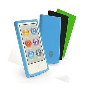 Tuff-Luv funda de silicona para Apple iPod Nano 7 (Incluye protector de pantalla) - Negro/Verde/Azul