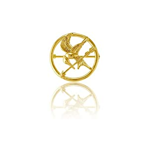 Sterling Silver The Hunger Games-inspired Gold-Plated Mockingjay Pin (Quarter-Sized)