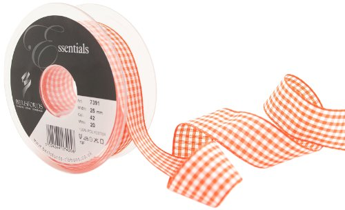 Berisfords 7391 Ruban Vichy traditionnel 20 m x 25 mm, Orange carotte
