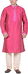 Kisah Men's Cotton Silk Kurta (KA-S-034K-38_Pink_38)