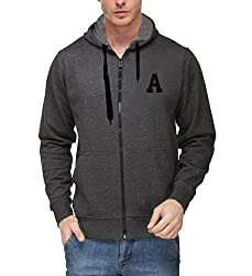 Scott Mens Premium Cotton Flocking Letter Pullover Hoodie Sweatshirt WITH Zip - Charcoal - AEBSSHZ1_XL