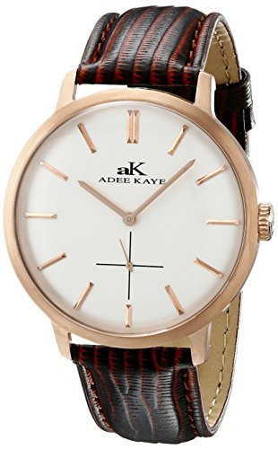 Adee Kaye Classique AK2225-MRG-SV 47.68x42.14mm Stainless Steel Case Brown Calfskin Mineral Men's Watch