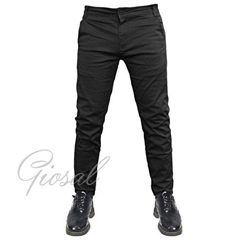 Pantalone Uomo Modello Tasca America Chino Slim Fit Cotone Elastico Colori Vari-Nero-44 44 Nero