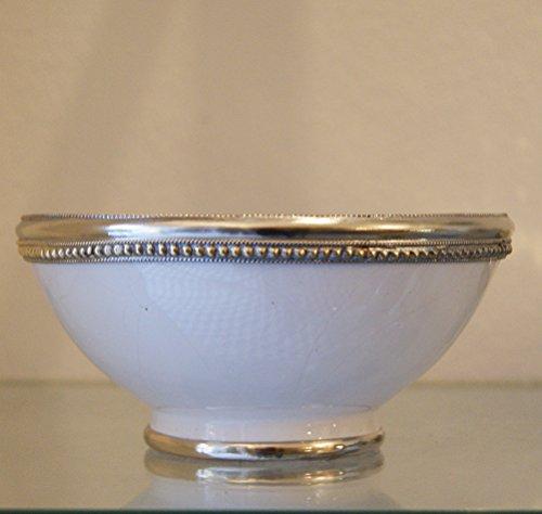 Marrakech accessoires plat metallrand bol céramique gris laqué