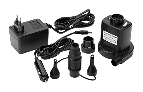 Ferrino 78400 Pompa Elettrica 12/220 V per Gonfiaggio Materassini, Nero