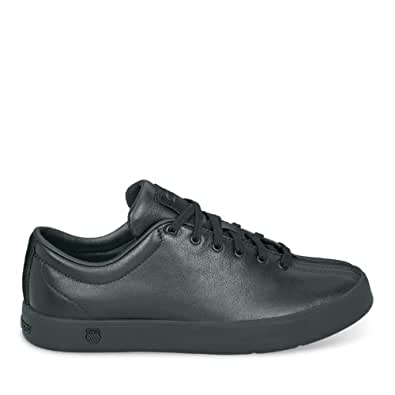 K-SWISS Women's Clean Classic Leather Court Sneaker,Black/Black,5 M US