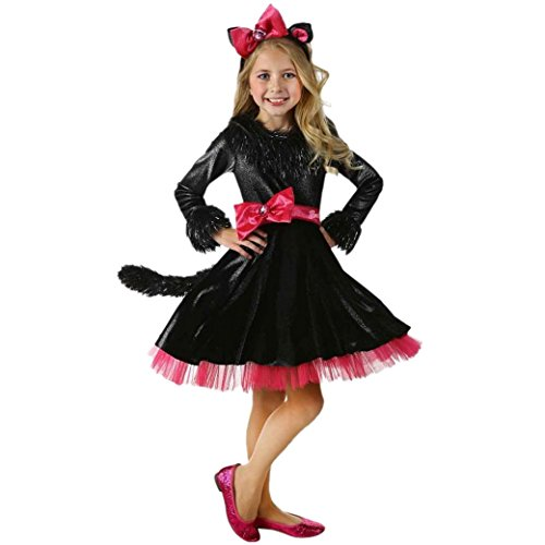 [Happy Cherry Girls Black Kitty Cosplay Costume Tea-length Dress Exhibition Suit Size L] (Comic Book Costumes Girls)