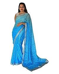 CDS Women's Faux Georgette Saree - (Blue)