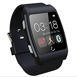 HAMSWAN® Smart Wrist Watch Bluetooth 4.0 Fitness Tracker Health Smartwatch with Heart Rate Monitor Phone Watches NFC Function for iPhone, Samsung, HTC, LG, Sony, MOTO G Android Smartphones (Black)