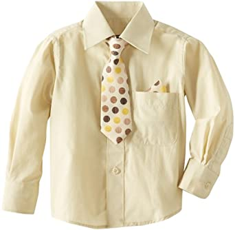 American Exchange Little Boys' Little Dress Shirt with Tie and Pocket Square, Beige, 1