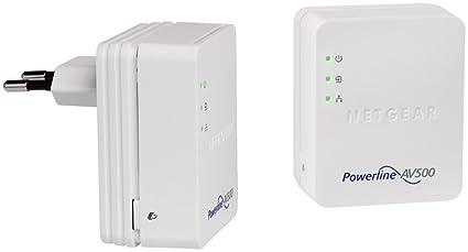 Netgear XAVB5201 Pack de 2 adaptateurs CPL 500 mégas. 1 port réseau 10/100 par CPL Compatible box Internet, périphériques PC, TV et CPL Homeplug AV