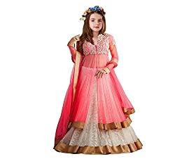 Clickedia Girls Kidswear Pink Soft Net Semi-Stitched Ethnic lehenhga suit with duppatta - traditional wear ( 8-12 yrs)