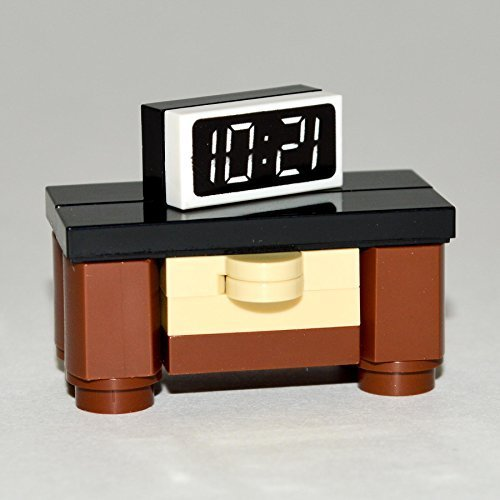 LEGO Furniture: Bedroom Nightstand with Alarm Clock - Large Brown & Tan with Black Top