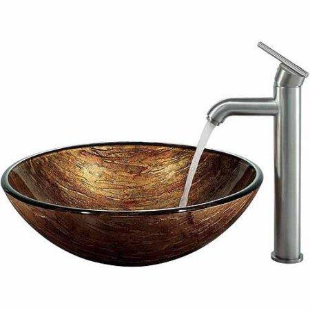 Vigo Amber Sunset Glass Vessel Sink and Faucet Set, Brushed Nickel