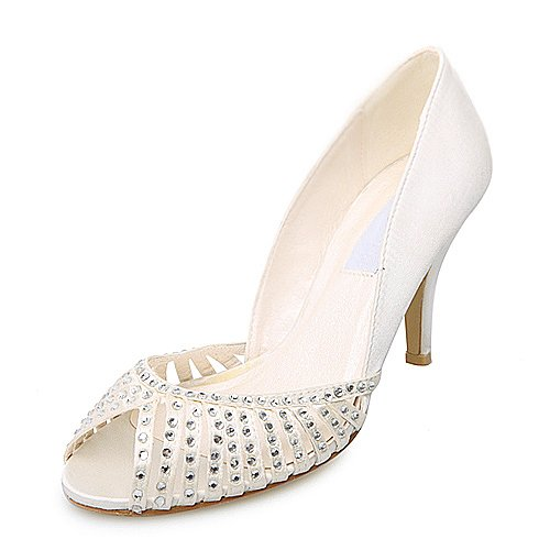 Women's Elegant Satin Upper High Heel Peep-toes With Rhinestone Wedding Bridal Shoes (Size: 6.5 B(M) US/Ivory)