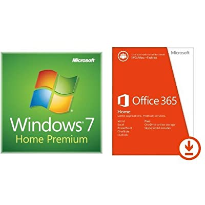Windows 7 Home Premium SP1 32bit (OEM) System Builder DVD 1 Pack And Microsoft Office 365 Home 1yr Subscription [Download]