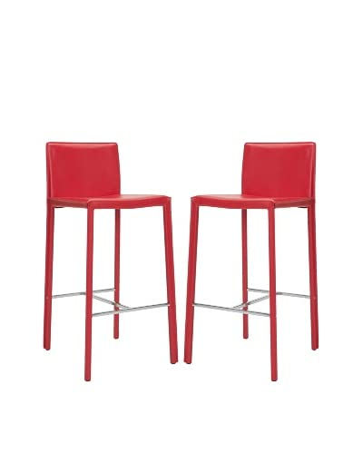 Safavieh Set of 2 Jason 30 Bar Stools, Red